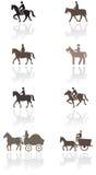 Pferden- oder Ponysymbolabbildungset. Stockfotografie