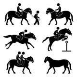 Pferden-Reittrainings-Jockey-Reiter-Piktogramm Stockfoto
