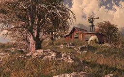 Pferden-Stall und Windmühle Stockfotos