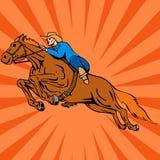 Pferden- und Mitfahrerspringen Stockfotos