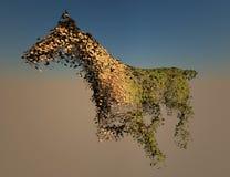 Pferdenefeu wireframe und gemasert Stockfoto