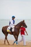Pferdenrennen auf Sanlucar von Barrameda, August 2010 Stockbild