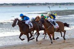 Pferdenrennen auf Sanlucar von Barrameda, Spanien Lizenzfreie Stockbilder