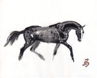 Pferdeorientalische Tintenmalerei, sumi-e Lizenzfreie Stockfotografie