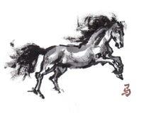 Pferdeorientalische Tintenmalerei, sumi-e Stockfoto