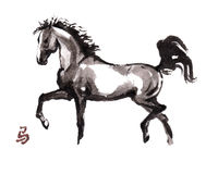 Pferdeorientalische Tintenmalerei, sumi-e Stockfotos