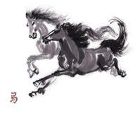 Pferdeorientalische Tintenmalerei, sumi-e Lizenzfreies Stockfoto