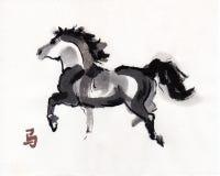 Pferdeorientalische Tintenmalerei, sumi-e Stockbilder