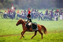 Pferdereiter an der historischen Wiederinkraftsetzung Borodino-Kampfes in Russland Lizenzfreie Stockbilder