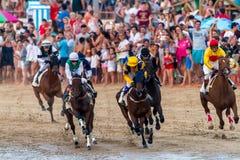 Pferderennen auf Sanlucar von Barrameda, Spanien, 2016 stockfotografie