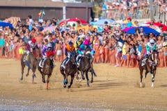Pferderennen auf Sanlucar von Barrameda, Spanien, 2016 stockbild