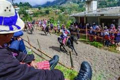 Pferderennen der Allerheiligen, TODOS Santos Cuchumatan, Guatemala Stockbild