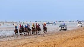 Pferderennen Des Caballos Sanlucar de Barrameda Carrera Lizenzfreies Stockfoto