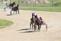 Pferderennen am Hippodrom Sibirskoe-podvorie Lizenzfreies Stockfoto