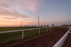 Pferderennen-Reiter Dawn Training Stockfoto
