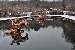 Pferderennenbrunnen am La Granja de San Ildefonso Palace, Spanien Lizenzfreies Stockfoto