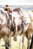 Pferdesattel auf der Ranch stockfoto