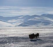 Pferdeschlitten auf Cildir See in Ardahan-Stadt von der Türkei Lizenzfreies Stockfoto