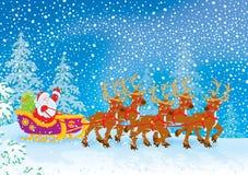Pferdeschlitten von Weihnachtsmann lizenzfreie abbildung