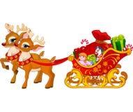 Pferdeschlitten von Weihnachtsmann Stockbild