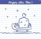 Pferdeschlittenillustration für das neue Jahr - Skizze auf Schulnotizbuch Stockfotos
