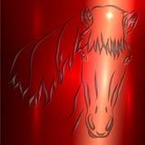 Pferdeskizzen-Vektor-Gruß-Karte stock abbildung