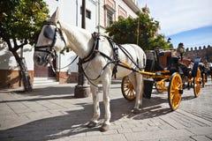 Pferdetransport für Touristen in Sevilla, Spanien Stockbilder