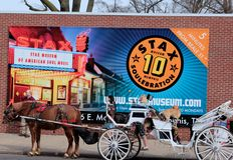 Pferdewagen auf berühmter Beale-Straße, Memphis Stockfotografie