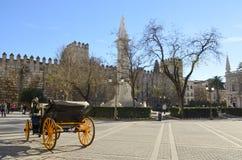 Pferdewagen an der Piazza Del Triunfo Stockfotos