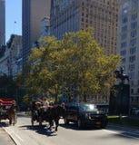 Pferdewagen-Fahrten unter Verkehr, Central Park, NYC, NY, USA Lizenzfreie Stockbilder