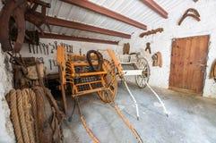Pferdewagen Mittelalterliches Landsitzmuseum La Granja auf der Insel stockfotografie