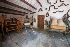 Pferdewagen Mittelalterliches Landsitzmuseum La Granja auf der Insel stockfotos