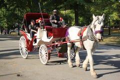 Pferdewagen nahe Central Park auf 59. Straße in Manhattan Stockfotografie