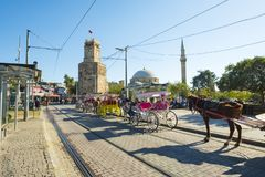 Pferdewagen Tekeli Mehmet Pasa Mosque Antalya H lizenzfreie stockfotos