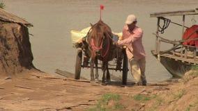 Pferdewarenkorb, Fähre, Kambodscha, Südostasien stock video footage