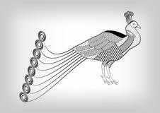 Påfågel svartvit stiliserad dekorativ teckning, fågel på grå lutningbakgrund som är användbar som garnering, tatueringvikarie Royaltyfri Foto