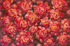Pfingstrosen-Beschaffenheitsölgemälde der roten violetten Blumen rosafarbenes Abstrakter hand--paintet Blumenhintergrund stock abbildung