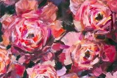 Pfingstrosen-Beschaffenheitsölgemälde der roten violetten Blumen rosafarbenes Abstrakter hand--paintet Blumenhintergrund vektor abbildung