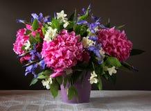 Pfingstrosen, Iris und Jasmin in einem Blumenstrauß Gartenblumen in einem VA Lizenzfreie Stockbilder