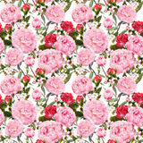 Pfingstrosenblumen und rote Rosen Nahtloser Blumenhintergrund watercolor Lizenzfreie Stockfotos