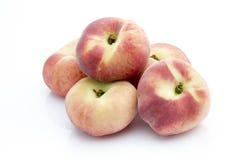 Pfirsich auf dem weißen isolatd Hintergrund Stockfoto