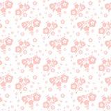 Pfirsich auf einem nahtlosen Muster des weißen Hintergrundes von Blumen und von leav Lizenzfreie Stockfotos