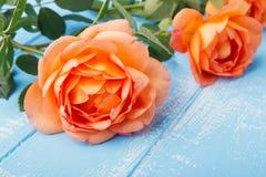 Pfirsich farbige Rosen auf dem Tisch Stockfotografie