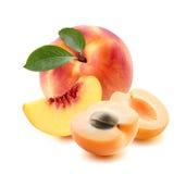 Pfirsich ganz, Aprikosenstücke lokalisiert auf weißem Hintergrund Stockfotografie