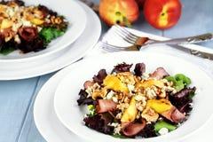 Pfirsich-, Gorgonzola- und Pastrami-Salate Lizenzfreies Stockbild