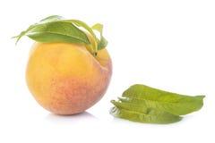 Pfirsich mit den Blättern lokalisiert auf weißem Hintergrund Stockfotos