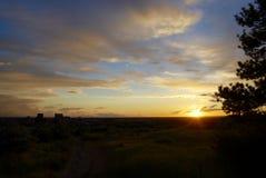 Pfirsich und Baby-Blau-Sonnenuntergang Lizenzfreies Stockfoto