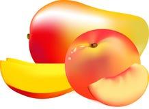 Pfirsich und Mango Lizenzfreies Stockbild