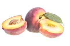 Pfirsich zur Hälfte Stockbild