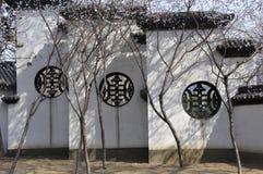 Pfirsichblüte und -architektur Stockbilder